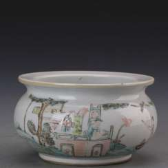 Late Qing Dynasty pastel character story pattern incense burner
