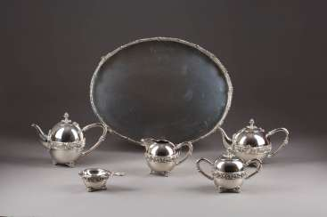 ORNAMENTAL TEA AND COFFEE SERVICE ON TRAY