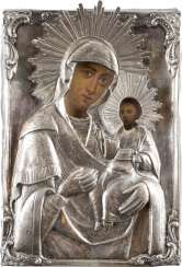 ICON OF THE MOTHER OF GOD HODEGETRIA WITH A SILVER OKLAD