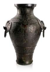 Large Vase made from Bronze in archaic style with two side Handle