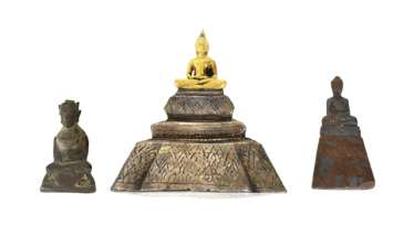 Three bronze sculptures of the Buddha Shakyamuni