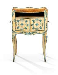 A NORTH ITALIAN ROCOCO BLUE AND WHITE 'LACCA' COMODINO
