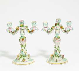 Pair of girandoles with floral decor