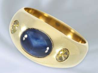 Ring: vintage and classic band ring with sapphire and fancy cut diamonds, solid gold work 14K Gold wrought