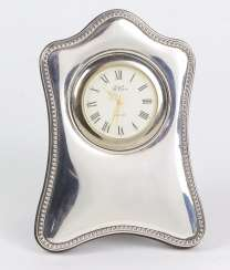 Table clock in silver frame