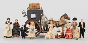 A rare dollhouse company with a doll's carriage