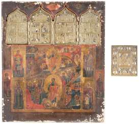 LARGE-SCALE STAUROTHEKE WITH THE DESCENT INTO HELL AND RESURRECTION OF CHRIST, AND A BRONZE ICON OF CHRIST, THE LOVING SILENCE