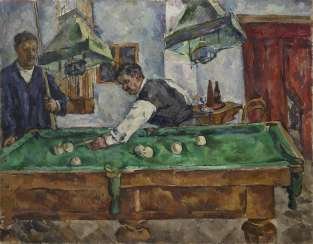 The Game of Billiards. Aristarkh Lentulov and Petr Konchalovsky, titled in Cyrillic, numbered