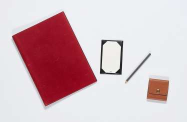Mixed lot: 1 large writing case, 1 small case and post-it case