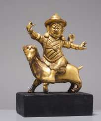 FIRE-GILT BRONZE OF THE DAMCAN ON GOAT