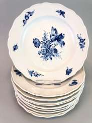 Twelve Of The Plates: Meissen Porcelain. Decor German flower in Blue. in order to 1860.
