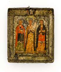 Early and rare icon of the Holy prophet Elias with the two Holy doctor cartridges Cosmas and Damian