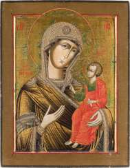 LARGE-FORMAT ICON WITH THE MOTHER OF GOD IWERSKAJA Central Russia