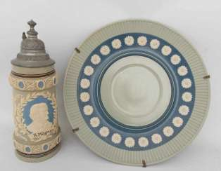 METTLACH, Villeroy & Boch, Zierkrug Richard Wagner wall plates and Decorative, Germany, 20. Century