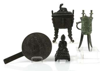 Hand mirror, Jue, incense burners and Buddha made of Bronze