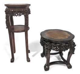 TWO WOOD STANDS, CHINA, LATE