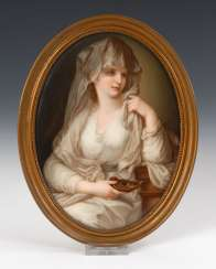 Porcelain painting: portrait of a lady al