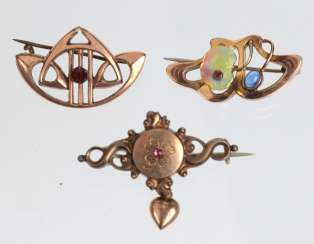 3 double brooches around 1880/1900