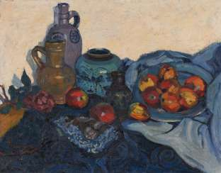 Still life with clay jugs and a bowl of apples