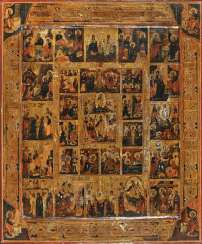 Extended holiday icon with a journey into hell and the resurrection of Christ