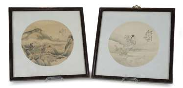 Two round fan paintings of Magu and of a landscape