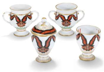 FOUR PORCELAIN CUPS FROM THE SERVICE OF THE ORDER OF ST VLADIMIR