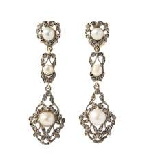 Natural Pearl Diamond Earrings