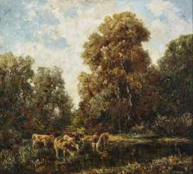 Otto Pippel, tree landscape with cows by the water