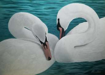 A pair of swans.