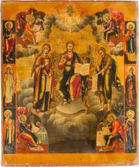 LARGE-FORMAT ICON WITH THE DEESIS AND THE FOUR EVANGELISTS