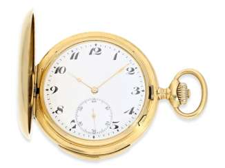Pocket watch: extremely rare IWC gold savonnette minute repeater, CA. 1910