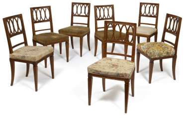 Set of six neoclassical chairs, to another. Late 18th century. Century