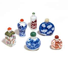 SIX SNUFFBOTTLE IN PORCELAIN