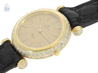 Wrist watch:high quality and extremely luxurious ladies jewellery watch brand Milus with a rich and brilliant trim, approx 2.5 ct, 18K Gold