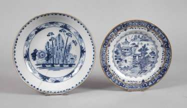 Plate and bowl in blue painting