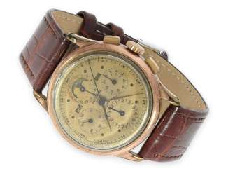 Watch: earlier astronomical Chronograph with full calendar and moon phase, Universal Geneve Tri-Compax, CA. 1945