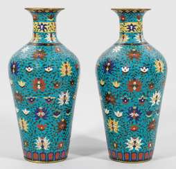 Pair of large Cloisonné vase with Lotus decor