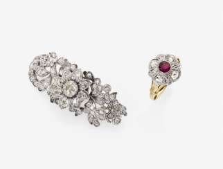 Brooch and Ring with Rubin and diamonds. Germany, 2. Half of the 19th century. and early 20. Century