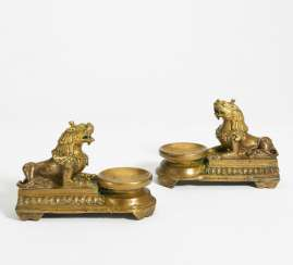Pair of oil Lamps with winged lion