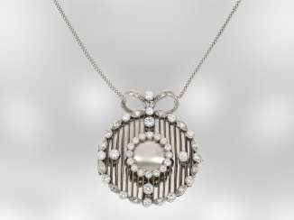 Necklace/Collier: ungewöhliches, very beautiful unique brilliant medallion, approximately 2.8 ct, 14K white gold, goldsmiths-hand work, the court jeweller Roesner
