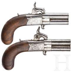 A pair of reversible percussion pistols, Cutler in London, circa 1840