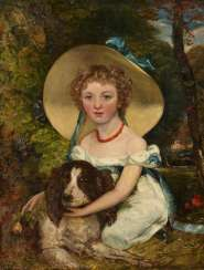 Portrait of a girl with her dog