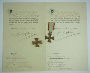 Mecklenburg-Schwerin: Military Merit Cross 1870, 1. and 2. Class with certificates for a captain in the General 22 staff. Division.