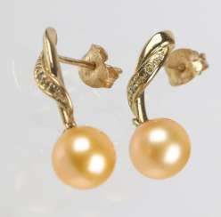 Pearl earrings with diamonds - yellow gold 375