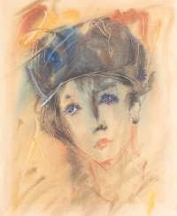 ANATOLIJ TIMOFEEWITSCH ZWEREW 1931 Moscow - 1986 Sviblovo District / Moscow Woman's head mixed media on paper. 48