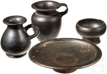 Four black-and-varnish-miniature vessels, Greek, 4. - 3. Century before Christ