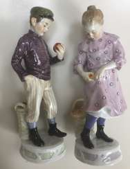Pair of Meissen figures Children with apples c.1905