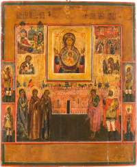 LARGE-SCALE ICON OF THE MOTHER OF GOD OF THE SIGN WITH SAINTS AND FEAST DAYS