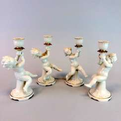 Four angels / cherubs as the candle-makers. Metzler & Ortloff in Ilmenau, Germany, around 1900.