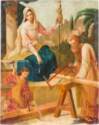 RARE AND LARGE ICON OF THE HOLY FAMILY AT WORK